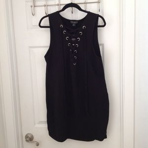 NWT Forever 21 black lace up front dress